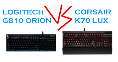 Photo of Logitech G810 Orion vs Corsair K70 LUX keyboard comparison