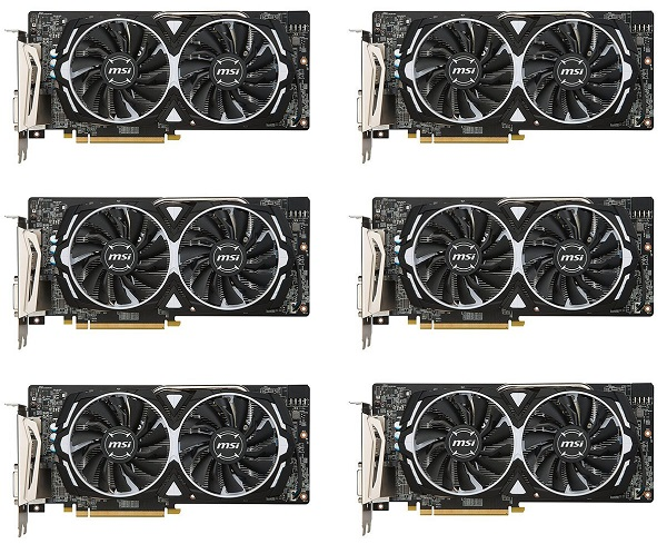 6 Packs of MSI VGA Graphic Cards RX 580 ARMOR 8G
