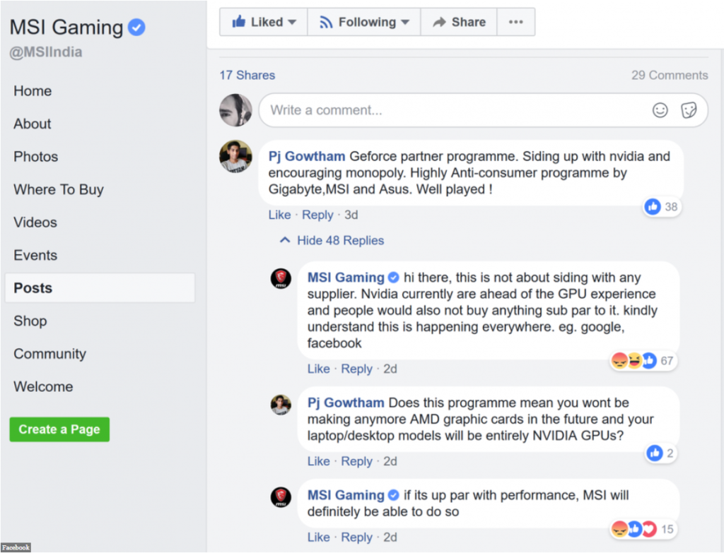 MSI gets hate because it made statement against AMD GPUS
