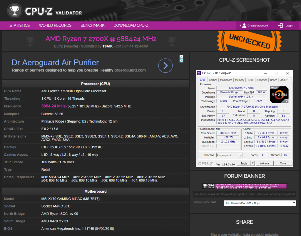 AMD Ryzen 7 2700X overclocking