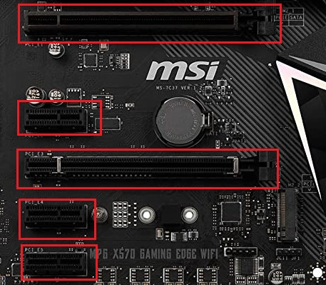 MSI MPG X570 Gaming Edge WiFi PCI slots