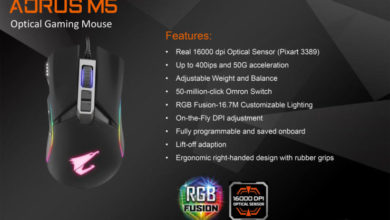 Photo of Gigabyte releases the Aorus M5 gaming mouse