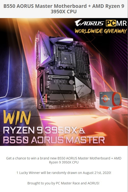 Ryzen 3950X and B550 Aorus Master Giveaway