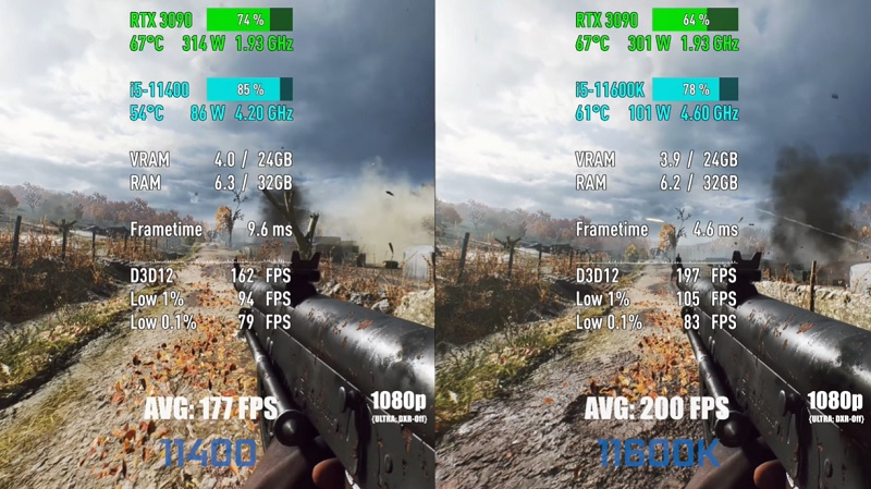 gaming i5 11600K vs i5 11400F